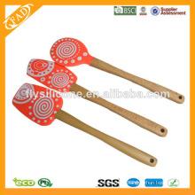 FDA & LFGB espátulas de madeira do punho do silicone com Multi-color