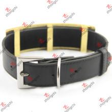 Large Design Black Collar de cão de couro para Pet Accessories (PC15121410)