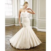 Trumpet Mermaid Sweetheart Strapless Lace Chapel Train Beading-belt Ruffled Wedding Dress