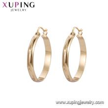 92635 Xuping baratos simples diseños de aretes de aro de oro 18k para las mujeres joyería de imitación