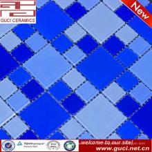 heißer Verkauf mischte blaue Kristallglasmosaikfliese für Swimmingpoolwandfliese
