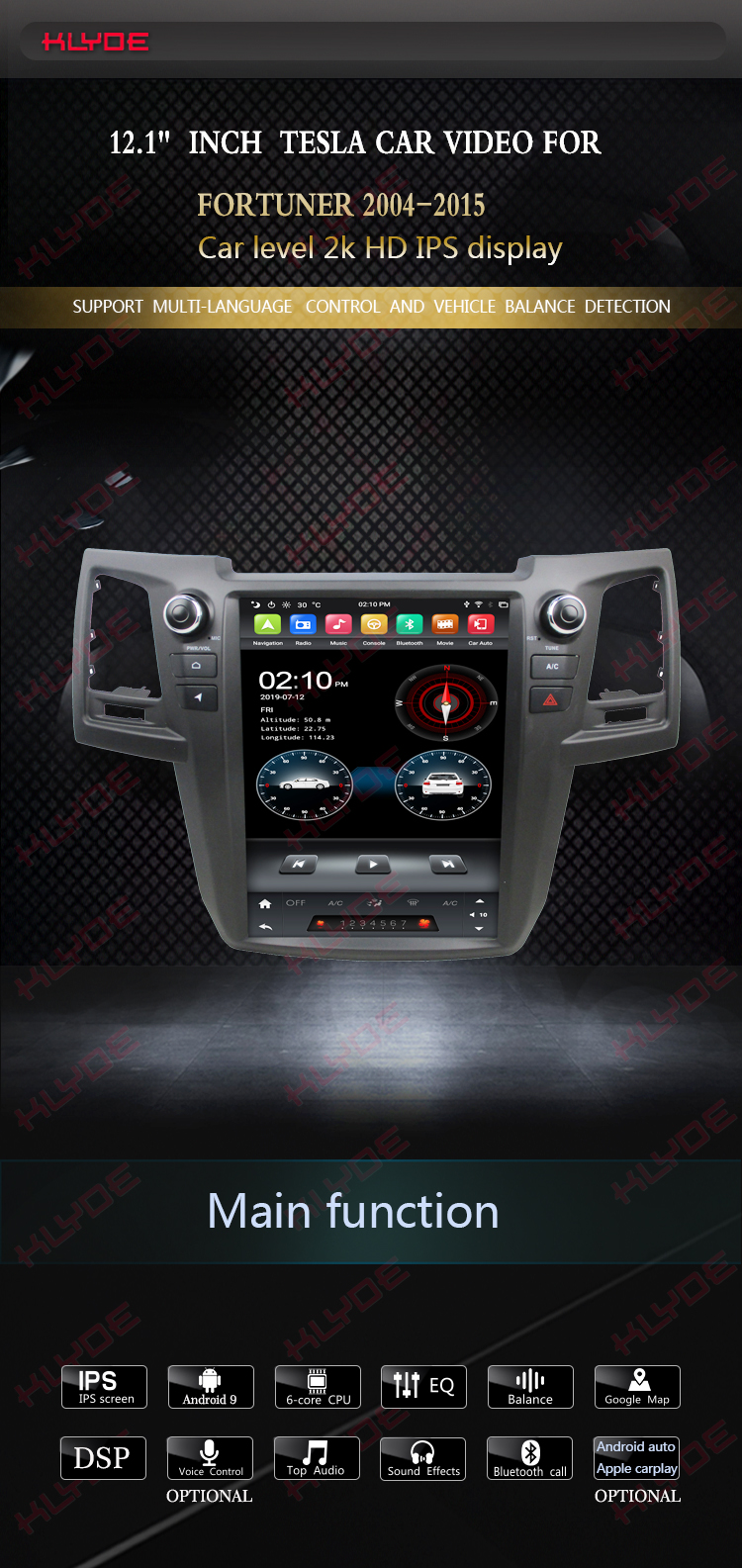 car dvd player android universal toyota Fortuner 2004