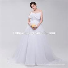 Belle Pure White Bowknot en mousseline de soie dans la robe de mariage de concepteur de boule avant cultivé