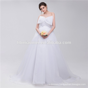 Beautiful Pure White Chiffon Big Bowknot In Front Ball Grown Designer Wedding Dress