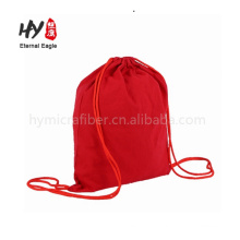 Natural white recycled cotton canvas drawstring travelling bag