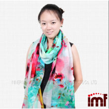 Spring ,Summer Green Red Flower Print Digital Sheep Wool Pashmina Scarf for Women,Shawl