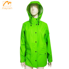 Green Ladies PU Jacket PU Raincoat
