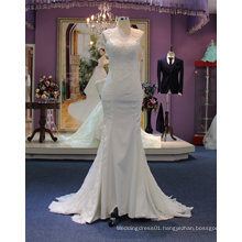 Fit and Flare Classic Boat Neckline Satin&Tulle Wedding Dress