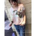 Summer Latest Fashion Pink Flower Embroidered Gold Line Women T-Shirt