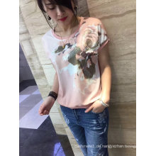 Sommer neueste Mode rosa Blume bestickt Gold Linie Frauen T-Shirt