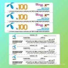 Carte de recharge mobile multi-pin en papier