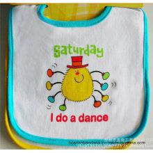 OEM Produce Customized Design Printed Saturday Cotton Terry Baby Feeder Apron Bib