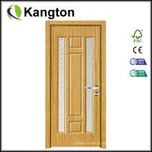 Porta de madeira MDF do banheiro de vidro com design de interiores (porta de madeira MDF)