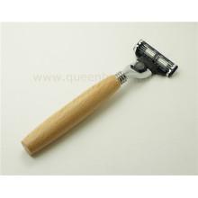 Manija de madera de afeitadora de pelo de afeitar para el hombre