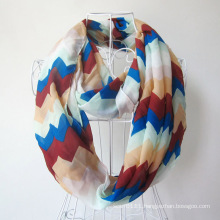 Lady Fashion Wave Printed Polyester Chiffon Infinity Scarf (YKY1099-4)