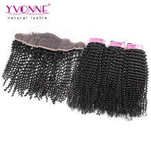 Kinky Curly Brazilian Lace Frontal with Bundles
