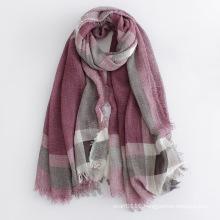 Checked Printed Viscose Women Fashion Long Silk Scarf (YKY1122)