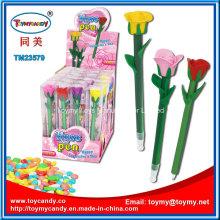 Neues lustiges Plastikrosen-Blumen-Stift-Spielzeug mit Süßigkeit