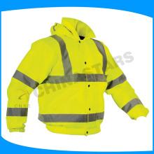 Veste de sécurité jaune à haute visibilité avec doublure en coton
