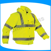 high visibility yellow safety jacket with cotton padding lining