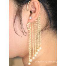 Hanging Individual Pearl Macrame Ear Cuff In Gold Earring Jewelry EC31