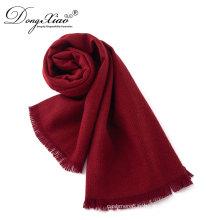 Écharpes promotionnelles de femmes d'OEM sur l'écharpe rouge de laine mérinos 100% de vente