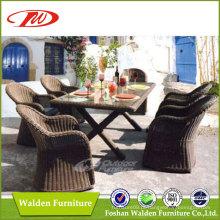 Cadeira e mesa de jantar de luxo do jardim Rattan (DH-6072)
