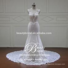 Illusion V-Ausschnitt und V-Back elegante Meerjungfrau Brautkleid China Großhandel ärmellosen Brautkleid