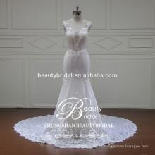 V-cuello de la ilusión y v-detrás vestido de boda elegante de la sirena Venta al por mayors vestido de boda sin mangas de la venta al por mayor