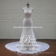 illusion v-neck and v-back elegant mermaid bridal gown China wholesale sleeveless wedding gown