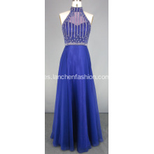 Elegante Purple Halter Prom Dress Beading Diseños