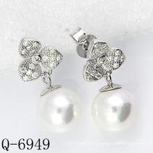 2015 Los últimos estilos cultivaron los pendientes de la perla plata 925 (Q-6949)