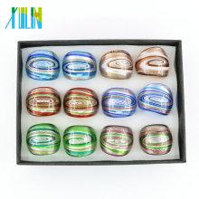 Mais novo redemoinho Lampwork ouro anéis de vidro 12pcs / box, MC1013