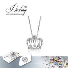 Destino joias cristal de Swarovski colar pingente de coroa nova