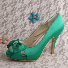Green Bows Brides Shoes para casamento