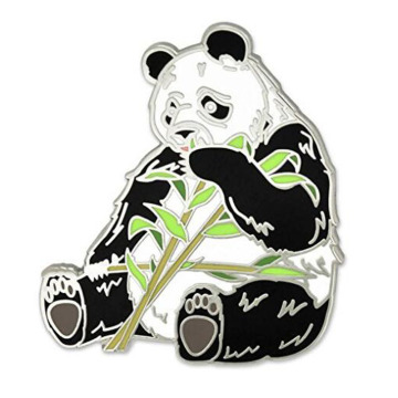 Spilla Panda Bear Eating Bamboo Animal Smalto