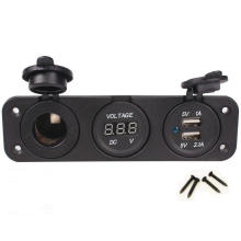 Triple 1A 2.1A Dual USB Charger + Voltmeter + Cigarette Lighter Socket Plug 12V