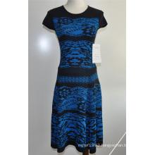 Elegant Women Patterned Knit Round Neck Sweater Dress