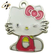 2017 Hot Cheap Custom rose bonjour chat mignon animal porte-clés en métal charmes