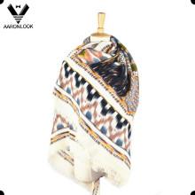 Moda suave acrílico impreso patrón cuadrado chal abrigo bufanda
