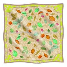 Primavera de la hoja original de diseño de seda de gran tamaño bufanda musulmana