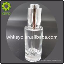 30 ml 50 ml luxus ätherisches öl transparent farbige leere kosmetische verpackung glas tropfflasche mit metallpresse tropfflasche