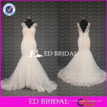 2017 ED Bridal Elegant Sheer Cap Sleeve V Neck Mermaid Lace Wedding Desses importados da China