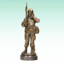 Металл Мужской Солдат Домой Деко Армии Бронзовая Скульптура Статуя Т-476