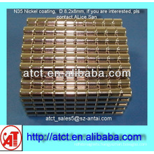 D8.2x8 Nickel coating disk magnet for box