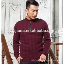Camisola de confecção de malha 100% cachemira masculina de manga curta