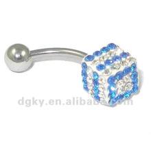 Venta al por mayor Moda Piercing Crystal Belly Button Ring