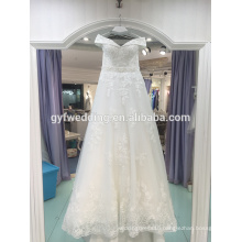 2017 wedding dress trailing poncho skirt Slim shoulder lace pinch spring summer bride Korean custom wedding LJ-20024