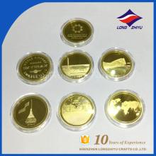 Завода высокого качества монеты с пластиковая коробка плакировкой золота