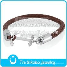 Fasshion Bracelet En Cuir En Gros En Acier Inoxydable Mettez Cendres Dans Le Bracelet